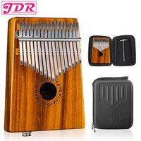 JDR Kalimba Pickup Mbira Gecko 17 Keys EQ Connector Walnut Wood Thumb Piano EVA High Performance Box Keyboard Musical Instrument