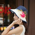 Women Sun Hat Candy Color Straw Hat New Arrival Fashion Wide Large Brim Summer Beach Cap with Flower Decor 53