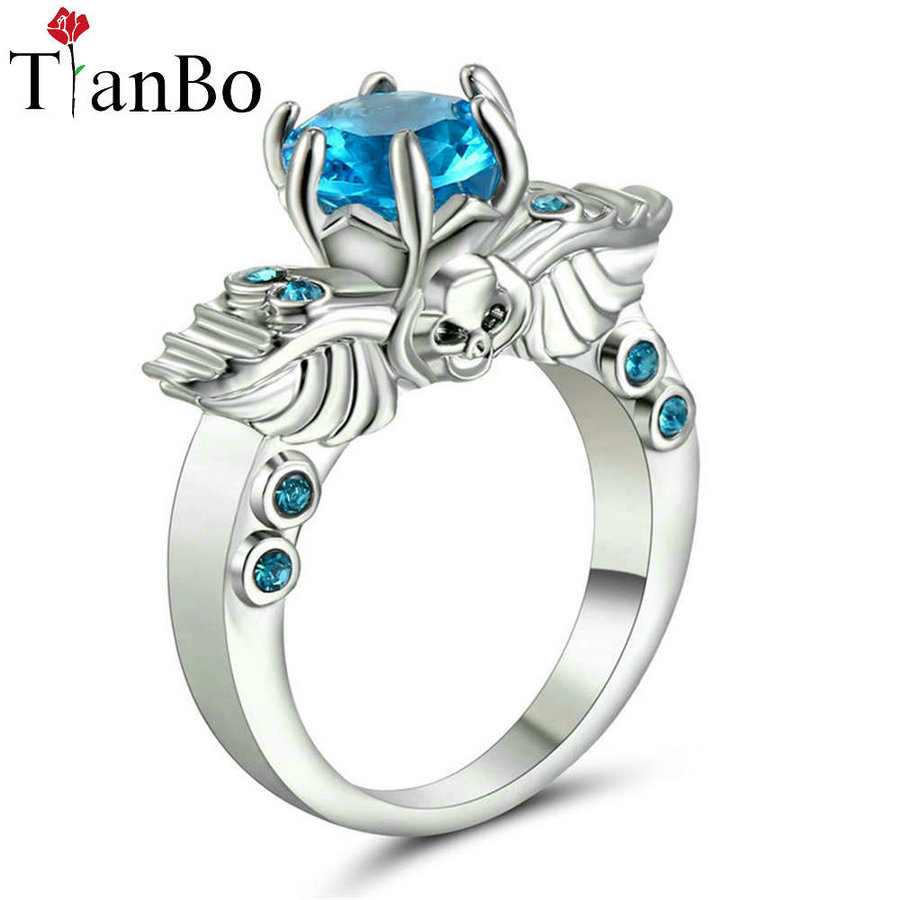 TianBo Silver & Black & Gold Color Wing Skull Black / Sky-blue Crystal Wedding & Engagement Ring for Women As Promise Gift Size6