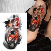 sugar skull tattoo Red fire skull tattoo Horror clock designs temporary tattoo girls men arm body paint mexican day of the dead