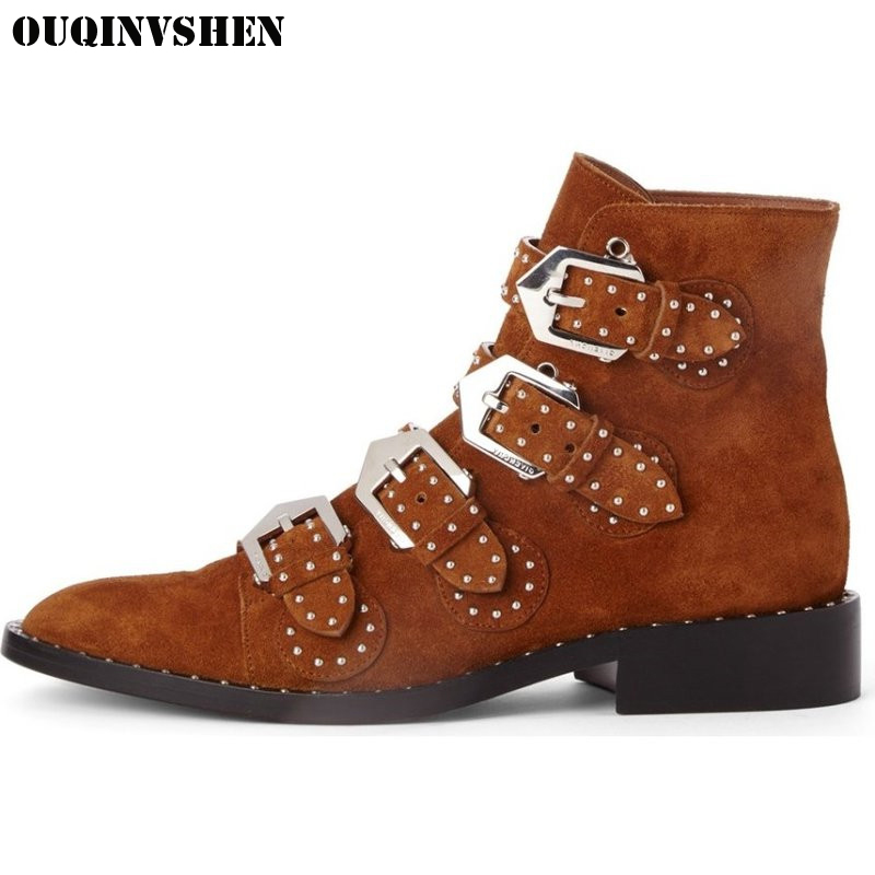 OUQINVSHEN Pointed Toe Square heel Women's Boots Casual Fashion Buckle Women Ankle Boots Rivet 2017 New Winter Ladies Boots camel camel boots cowhide thick heel rivet velvet fashion pointed toe boots vintage casual thermal boots