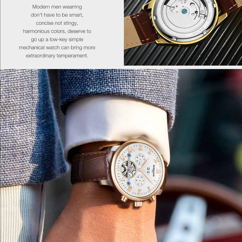 BINSSAW 2019 Uhren Männer Luxus Top Marke Neue Art Und Weise männer Designer Automatische Mechanische Männliche Armbanduhr Relogio Masculino