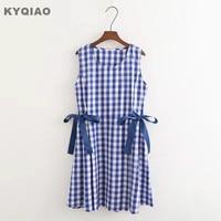 KYQIAO Plaid Dress For Women Mori Girls Summer Japanese Style Fresh Design Sleeveless O Neck Blue