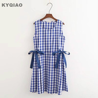 KYQIAO Plaid Dress For Women Mori Girls Summer Japanese Style Fresh Design Sleeveless O Neck Blue