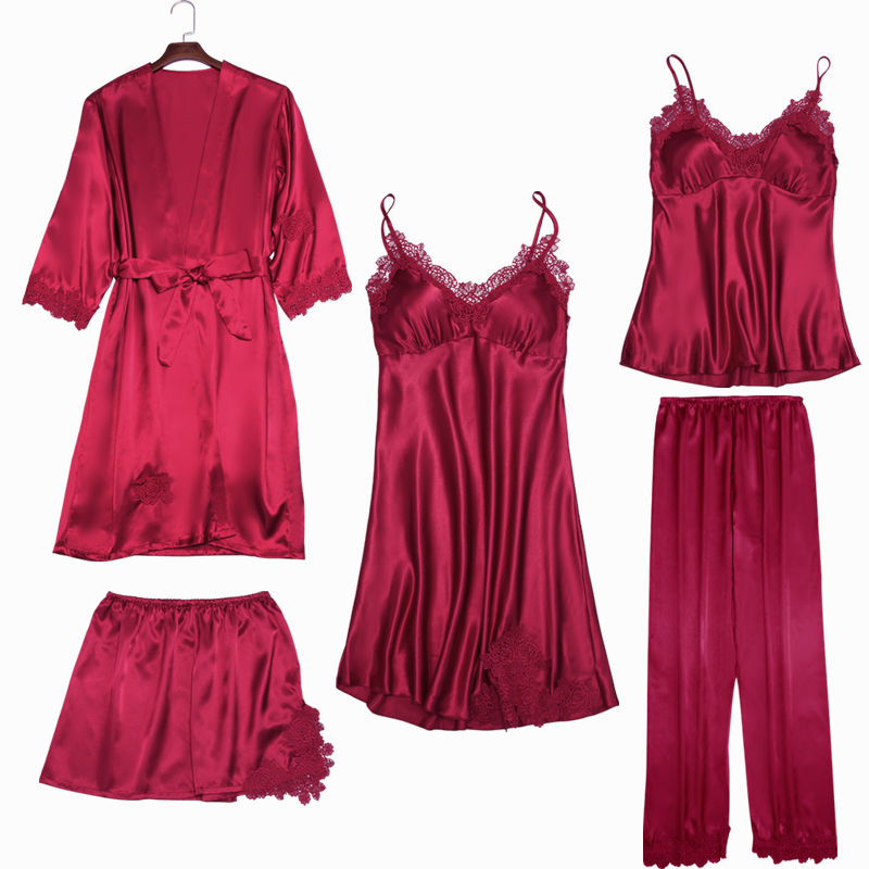 Women   Pajamas     Set   2018 Spring autumn five-piece Suit Robe+nightdress+trousers+sling+shorts Sexy Bathrobe New ladies Nightgown