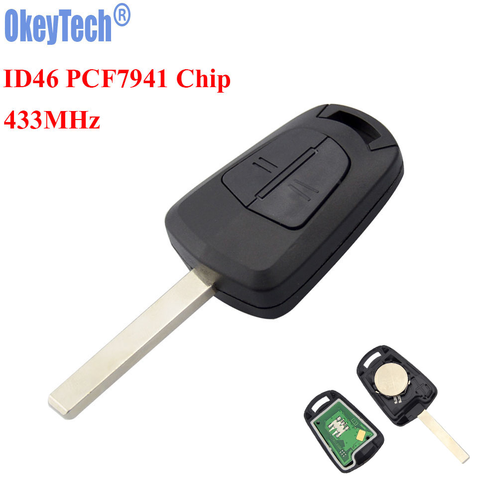 OkeyTech New 2 Buttons Car Remote Key Fob 433MHz ID46 PCF7941 Chip for Vauxhall Opel Corsa Agila Meriva Combo Uncut HU100 Blade free shipping 1 piece factory quality 2 button remote control car key 433mhz pcf7941 chip for opel vauxhall astra