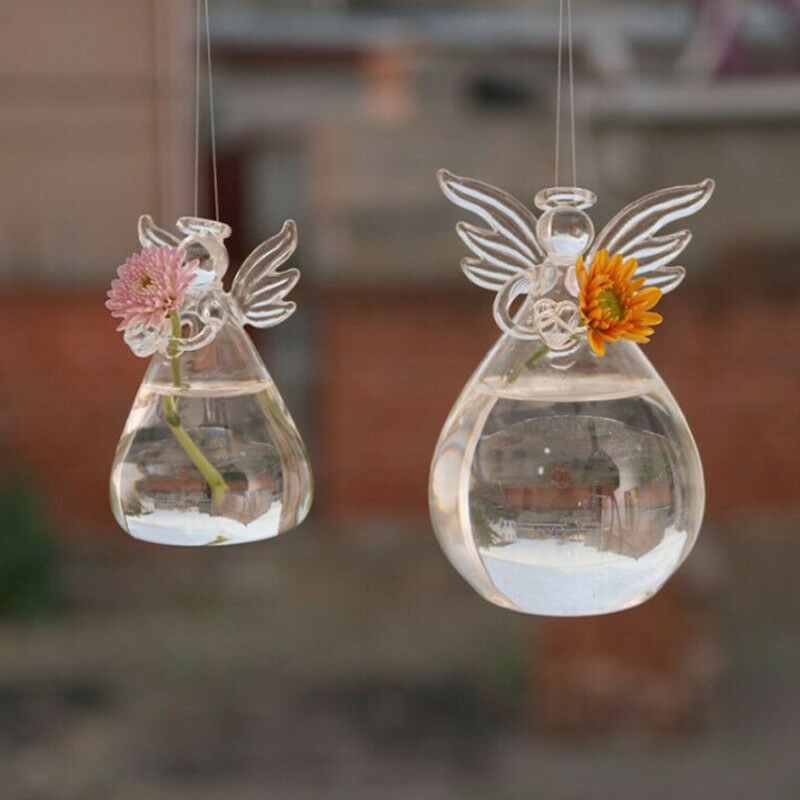 Cute Angel Shape Glass Flower Plant Planter Clear Hanging Vase Home Office Wedding Decor New 1pcs