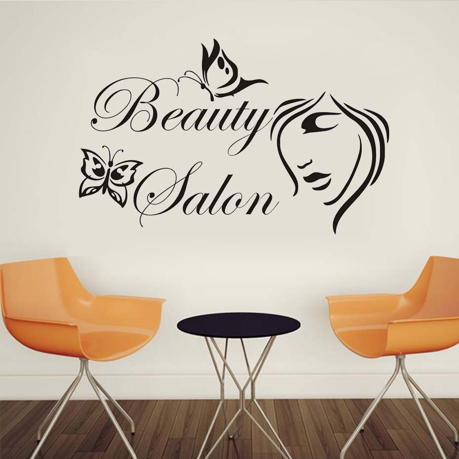 Eyes wall stickers wow modern beauty salon valentine wall decoration - Butterflies Beauty Salon Wall Decor Sticker Waterproof Lady S Face Diy Home Decor Decoration Vinyl Barbershop Wall