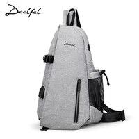 DEELFEL 2018 New Fashion Men Shoulder Bags USB Design Crossbody Bags for Men Messenger Chest Bag Casual High Quality Bag