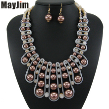 hot deal buy statement necklace 2018 fashion pearl jewelry sets gold chain crystal dubai bridal jewelry sets vintage bead bijoux accessories