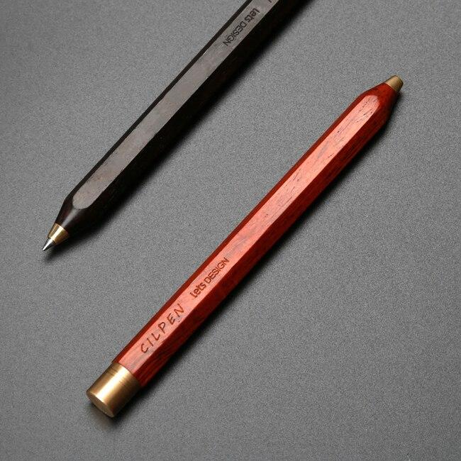 1 st Luxe Hout Pen met Hexagon Ontwerp Intrekbare Balpennen Creative Gift Briefpapier Kantoor Schrijven Schoolbenodigdheden-in Balpennen van Kantoor & schoolbenodigdheden op  Groep 1