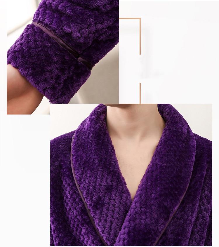 Winter Male Femlae Bathrobe Flannel Thick Robe Long Sleeve Soft Warm Bathrobe Men Women Home Wear Gown Robes Dressing Gown     6