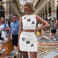 WannaThis Crop Tops Skirt 2 Pieces Sets Letter Print Sleeveless O-Neck Fashion Streetwear Top and Mini Skirt Casual Women Set недорго, оригинальная цена