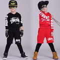 New fashion Spring Autumn children's clothing set streetwear Costumes kids sport suits Hip Hop harem pants & hoodies Black Red