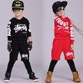 Nova moda Primavera Outono das crianças conjunto de roupas Trajes crianças dos ternos do esporte Hip Hop calças harém streetwear & hoodies Preto vermelho