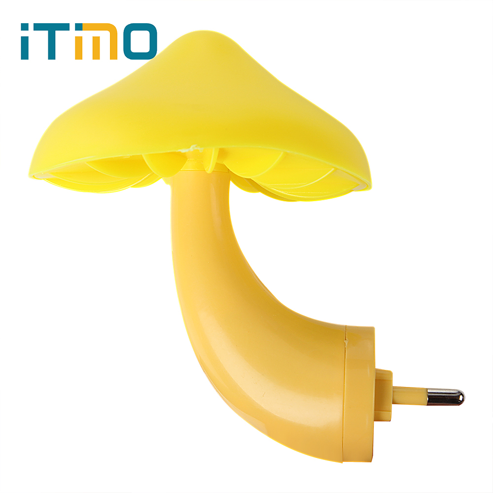 iTimo Gift for Kids Child Baby Room Decor LED Night Light EU US Plug Mushroom Wall Socket Light-controlled Sensor