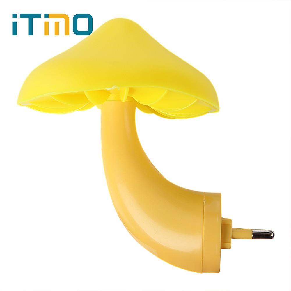 iTimo-lahja lapsille Lasten vauvahuoneen sisustus LED-yövalo EU: n Yhdysvaltain pistoke sieni-seinäpistorasia Valo-ohjattava anturi
