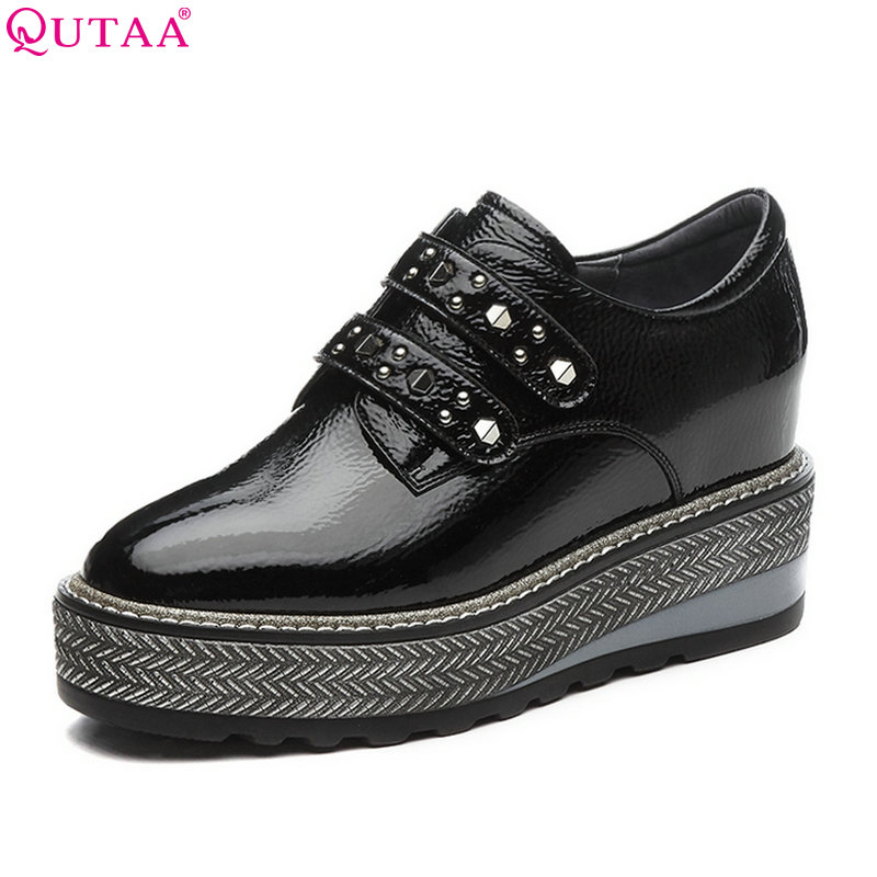 QUTAA 2018 Women Pumps Fashion Women Shoes Round Toe Genuine Leather + Pu Platform Lace Up Casual Ladies Pumps Szie 34-42 bonjomarisa new arrivals 2016 solid plain round toe lace up sporting thick platform pumps women fashion cassual shoes women