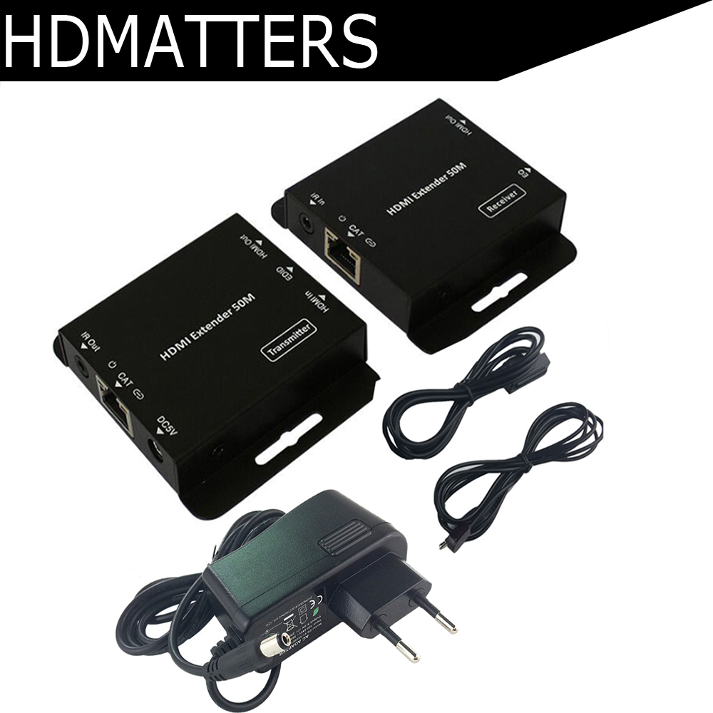 HDmatters HDMI extender with Loop&IR repeater cable over Ethernet Cat5e/6 up to 60M POE link mi lm ex30 30m dual cat5e 6 cable hdmi extender w ir