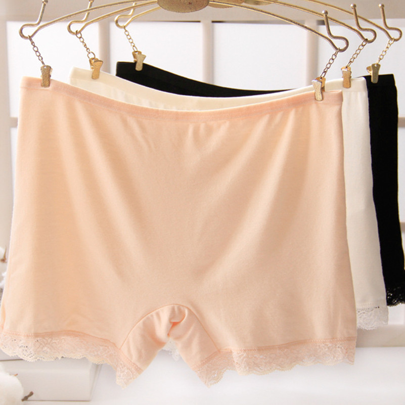 Women Sexy Lace Soft Cotton Seamless Safety Short Pants Hot Summer Under Skirt Shorts Modal Ice Silk Breathable Short Tights New