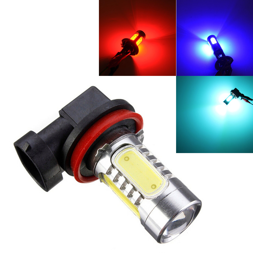 H11 7.5W Super White 5 COB Projector LED Bulb Fog/Driving DRL Lamp Lens Rear Light Amber Red Ice Blue Pink car cob led h7 bulb fog light parking lamp bulbs driving foglight 7 5w drl 2pcs amber yellow white red ice blue