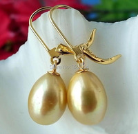 REAL 13MM Champagne RICE FW PEARL DANGLE EARRING 14K PLATED