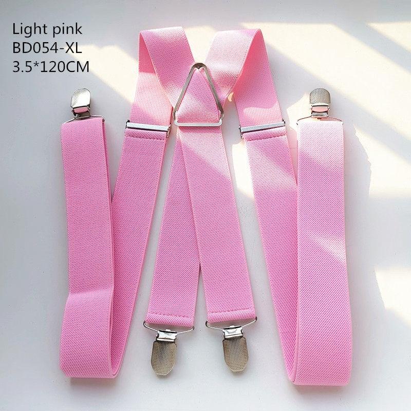 Одноцветные подтяжки унисекс для взрослых, мужские XXL, большие размеры, 3,5 см, ширина, регулируемые эластичные, 4 зажима X сзади, женские брюки, подтяжки, BD054 - Цвет: Light pink-120cm