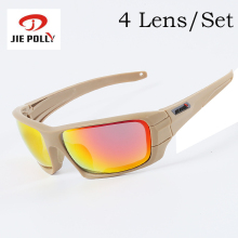 4 Lens Jiepolly Sport Hiking Trekking Cycling Glasses Sunglasses For Men Sports Tactical Bike Bicycle Sun