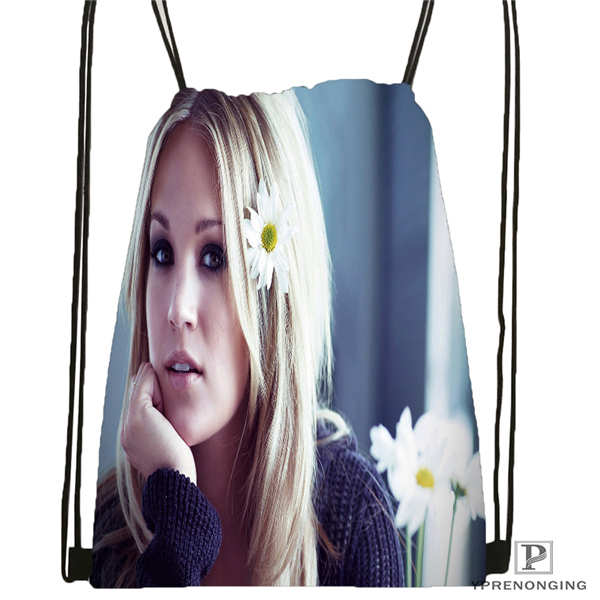 Custom Carrie-Underwood-Style    Drawstring Backpack Bag Cute Daypack Kids Satchel (Black Back) 31x40cm#20180611-02-95