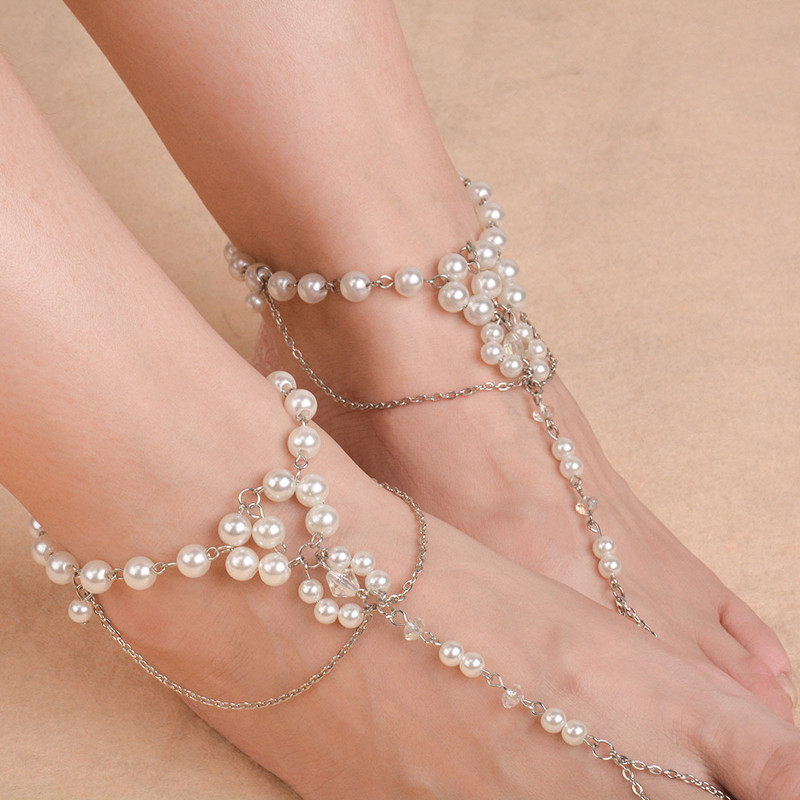 1pc Bridal Barefoot Sandals Pearl Multi-Layer Anklet Wedding Beach Foot Jewelry Boho Accessory