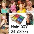 2014 caliente saludable moda crayones tintes de cabello 24 colores Fast no tóxico temporal Pastel cabello pintura DIY extensión del tinte de la tiza