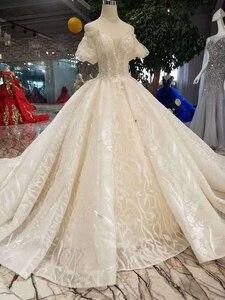 Image 3 - LSS206 샴페인 레이스 웨딩 드레스 2020 짧은 플레어 슬리브 섹시한 v 백 웨딩 드레스 우아한 11.11 글로브 쇼핑 축제