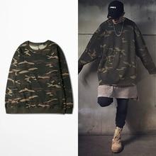 Vintage Camouflage Sweatshirts Männer Armee Grün Camo Sweatshirt mit fleece Kanye Rap Streetwear BHYHYL0197XX