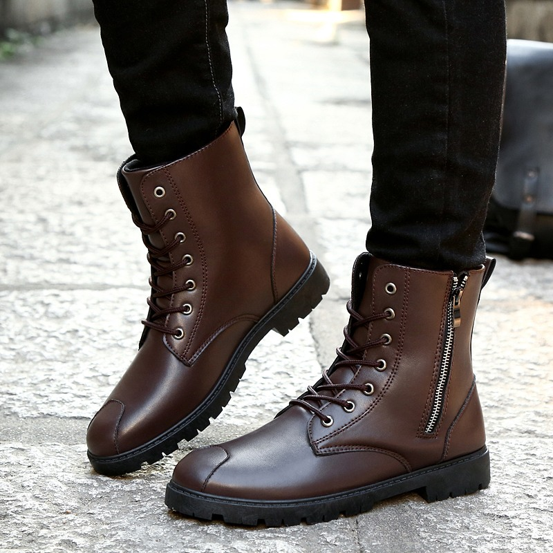 e9a2e467dec US $17.73 38% OFF|LettBao 2018 Trend Winter Boots for Men Military Boots  Ankle Motorcycle Boots Winter Shoes Men Black and Brown Leather Shoes  Men-in ...