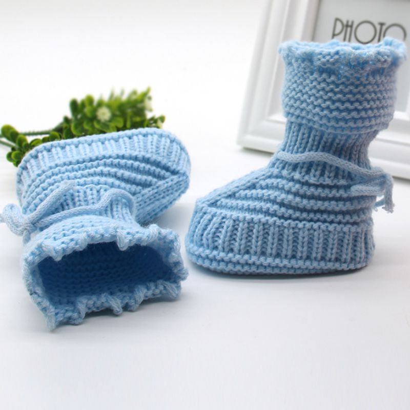 Newborn Baby Knitted Booties Bootees Pink or Blue Girl Boy Bow Laces Soft Touch