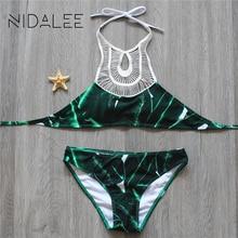 Bikini 2017 Women Swimsuit Swimwear Female Sexy Beach Wear High Neck Print Brazilian Bikinis Set Bandage Bathing Suits Biquinis