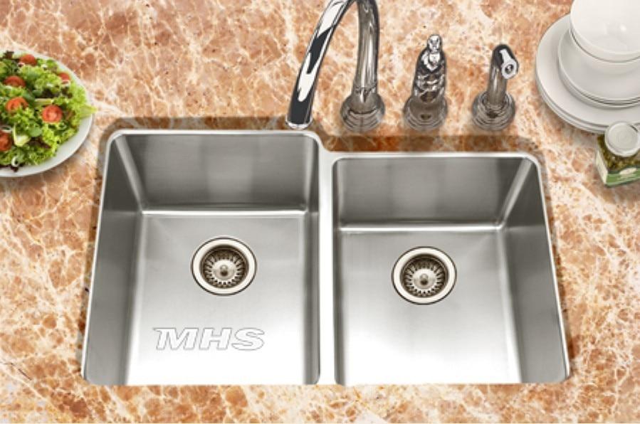 Undermount 60 40 double bowl Stainless steel kitchen sink double ...