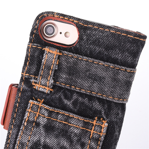 Image 4 - Fashion Jeans Canvas Cloth Leather Case For iphone 6 6s 7 7 Plus Case Book Flip Stand Wallet Bag For iphone X 8 8 Plus Cover Gel
