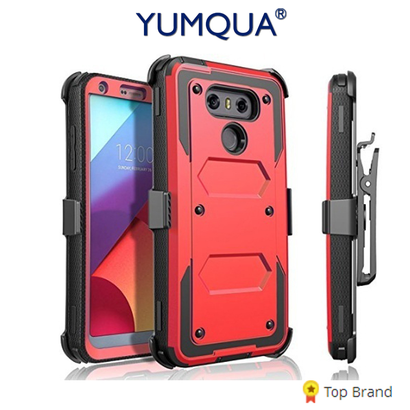 buy popular 0afb7 f4617 YUMQUA lg6 Cover Cases For LG G6 H872 VS988 Mobile Phone Back Case Cover  Heavy Duty Armor with Rotating Belt Clip Holster