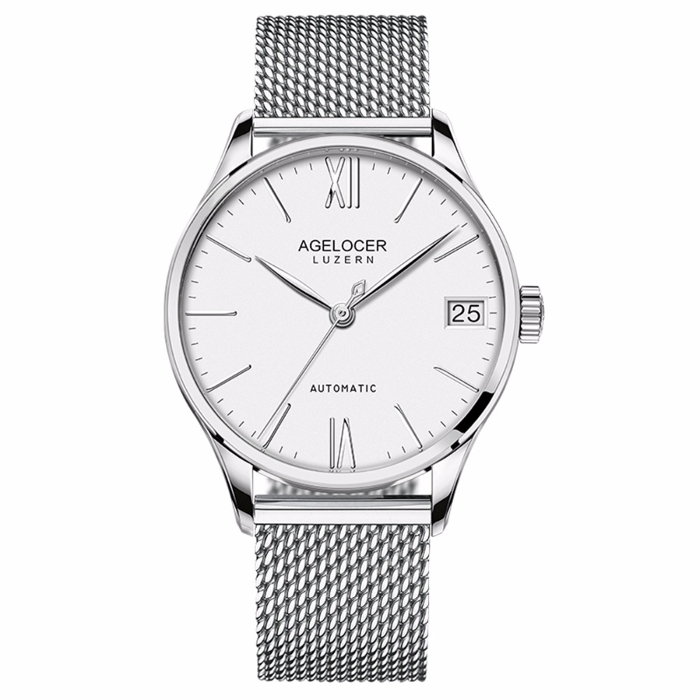 цена Agelocer Dress Watches for Men Stainless Steel Automatic Watches with Date Ultra Thin Mechanical Watches 707S онлайн в 2017 году