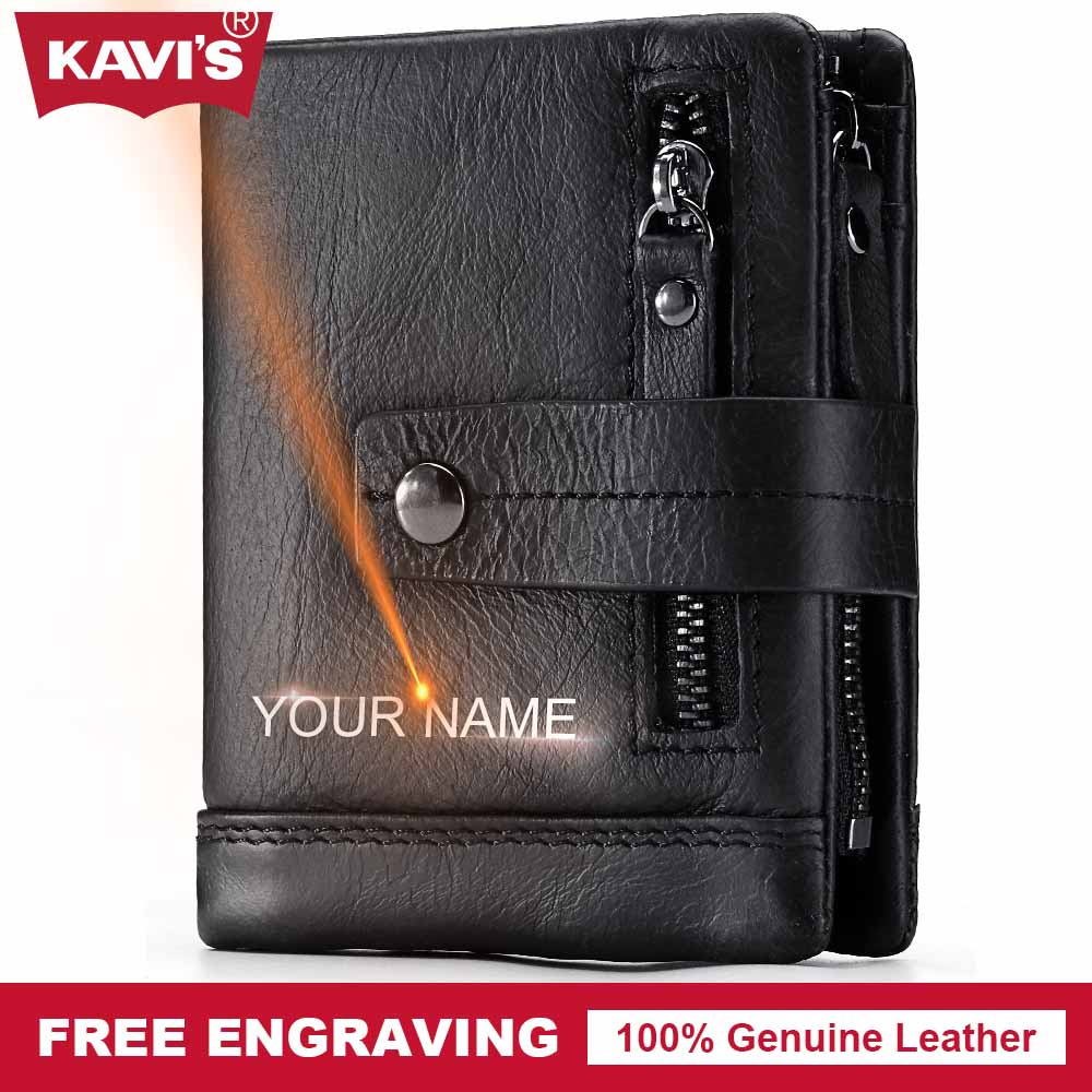 KAVIS Genuine Leather Wallet Men PORTFOLIO Small Portomonee Perse Pocket Zipper Male Cuzdan Card Holder Coin Purse Engraving Bag genuine leather mens wallet black hasp men purse with zipper coin pocket portfolio male short card holder vertical men wallets