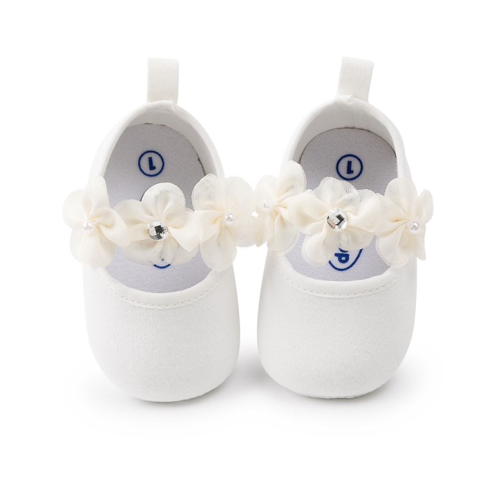 Flower Baby Shoes Cotton Fabric Solid Elastic Band Toddlers Girl Princess Spring Summer Prewalkers Wholesale