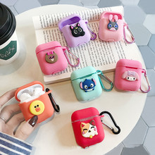 무선 Bluetooth 헤드셋 IOS Charging 상자 실리콘 Earphone Cover 보호 Case 와 훅 대 한 Airpods Iphone Cartoon TPU(China)