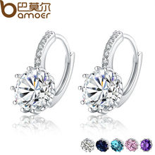0dcbe2162 BAMOER Trendy Genuine Platinum Plated Round Hoop Earrings with AAA Zircon  For Women Jewelry Gift YIE083