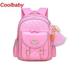 a48dccbc2473 Coolbaby девушка Школьные ранцы PU кожаная сумка корейских детей школьные  Рюкзаки 1-3-6