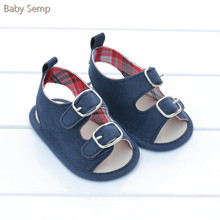 Summer Baby Boy Sandals 2017 Kids Infant Baby Shoes Sandals Soft Sole Baby Clog Navy Blue Metal New Beach Sandals Size 1 2 3