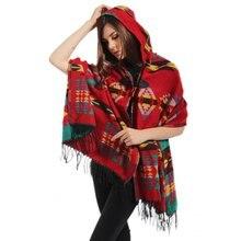 Women Fashion Bohemian Cardigan Tassels Cover Up Hooded Cape Cloak Warm Poncho Jacket Coat Shawl Scarf Winter Warm Cloak Coat