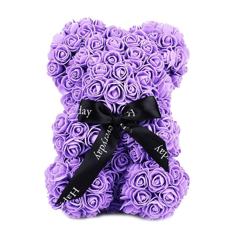Искусственные цветы розы Медведь собака кролик Мопс юбилей день Святого Валентина подарок на день рождения мать подарок Свадебная вечеринка украшение - Цвет: 23CM Purple Bear