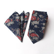 Cotton Ties for Men Printed Handkerchiefs Tie Set Fashion Casual Floral Slim 6cm Neckties Wedding Suits Pocket Square & Tie Sets