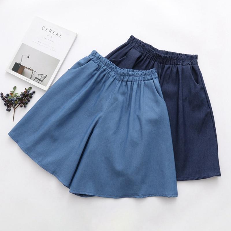 2019 Women Elastic High Waist Shorts Fashion Feminino Denim Shorts For Women Loose Straight Girls Blue Short Jeans